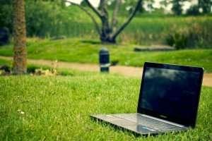 latptop on grass