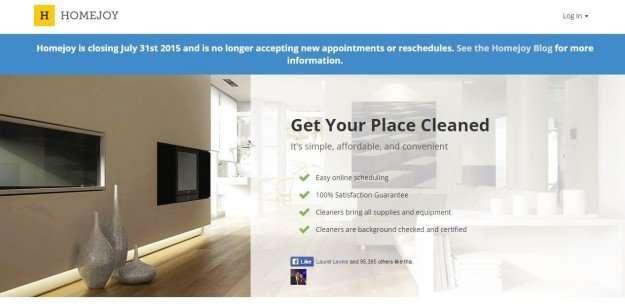 Homejoy website with closing notice