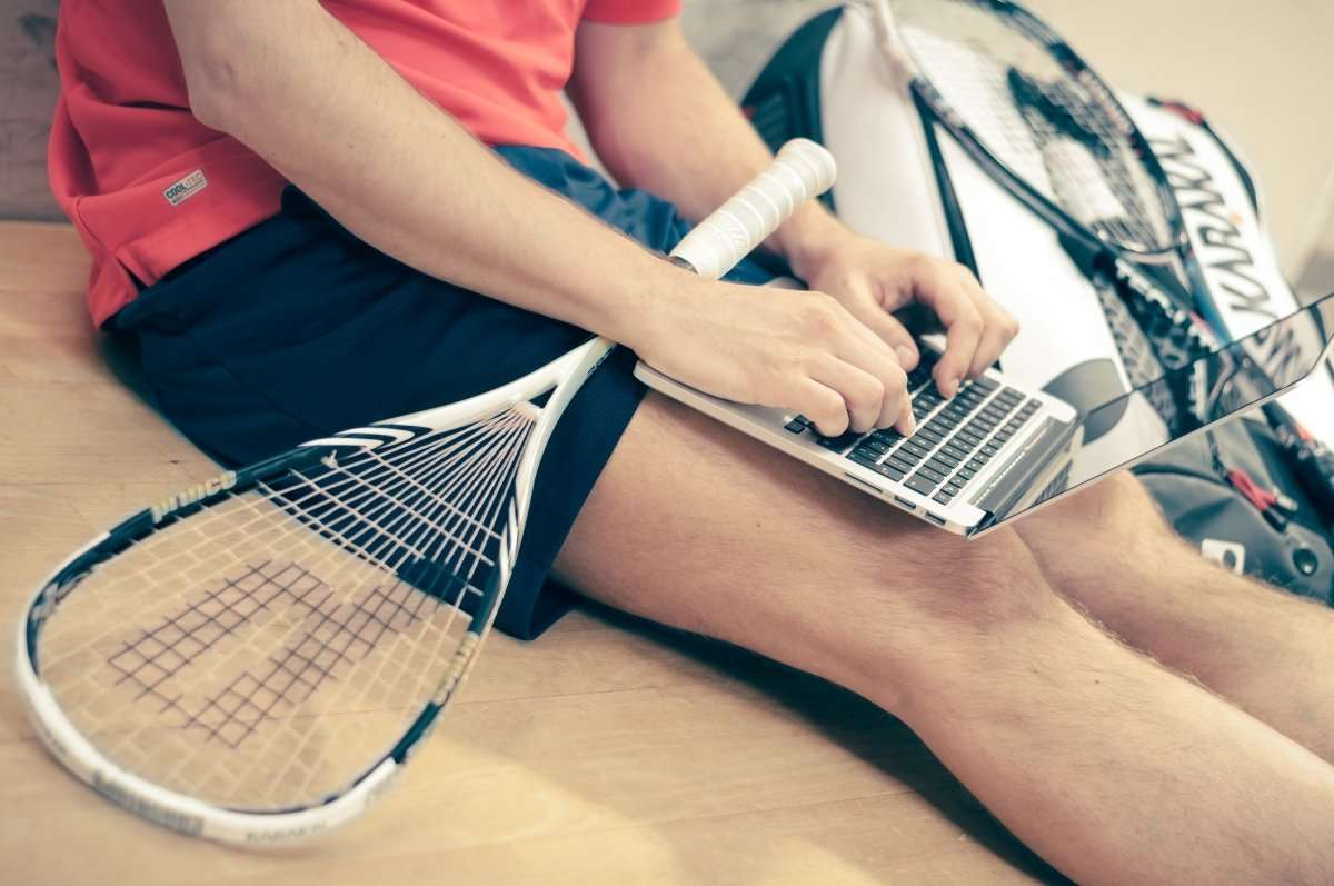 racket and laptop