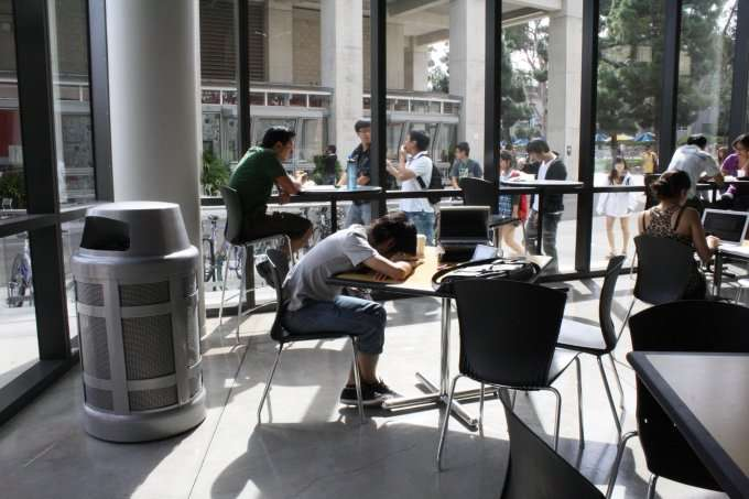 college students at tables