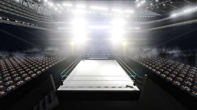 empty wrestling or boxing arena