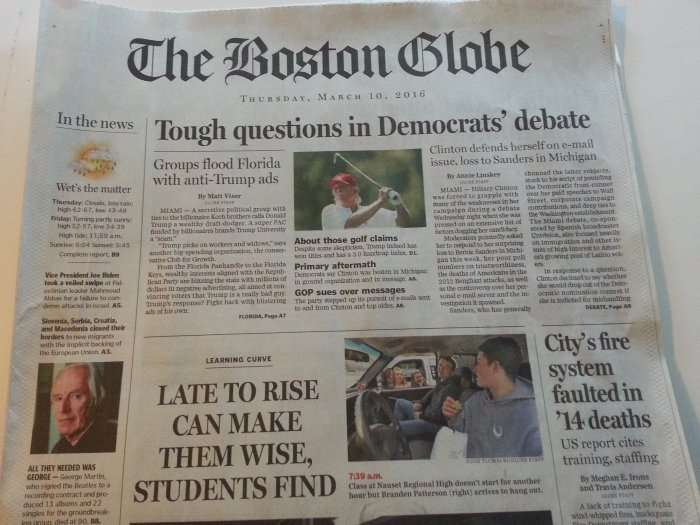 Boston Globe March 10 2016