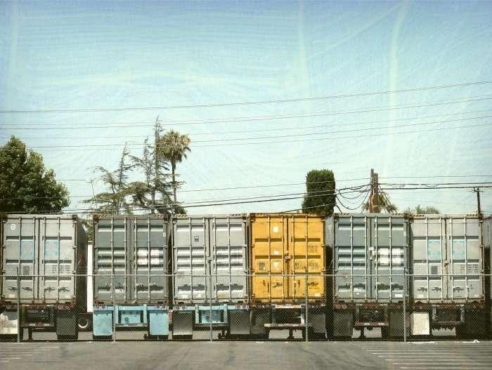 view of back of 18 wheeler trucks