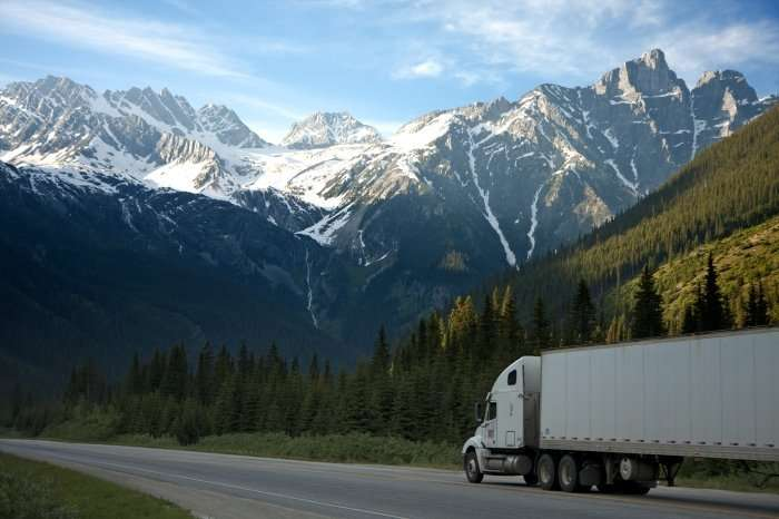 18 wheeler truck in mountains