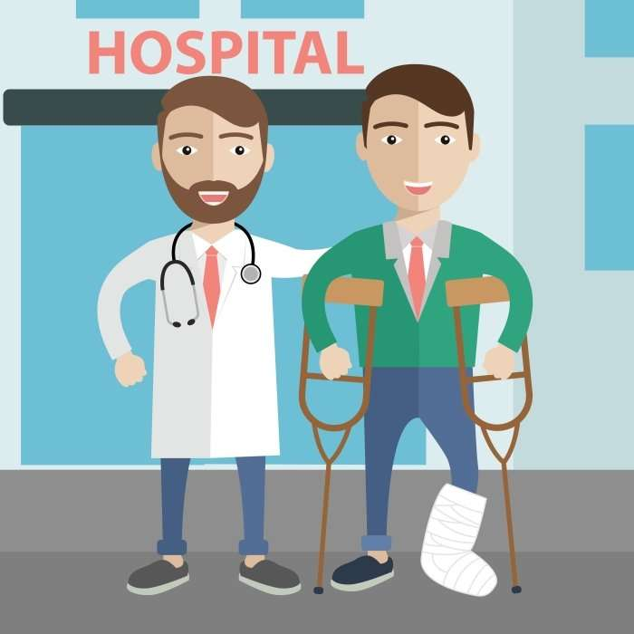 injured worker at hospital illustration
