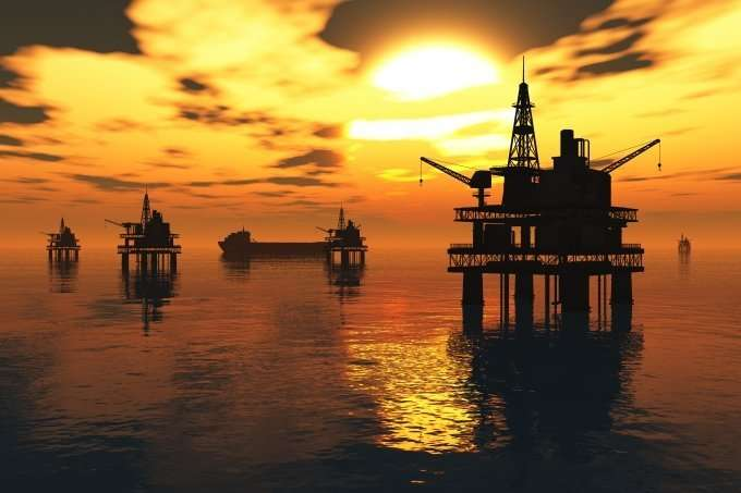 Oil rigs on the water