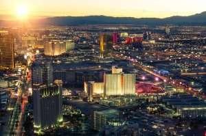 Las Vegas skyline at sunset
