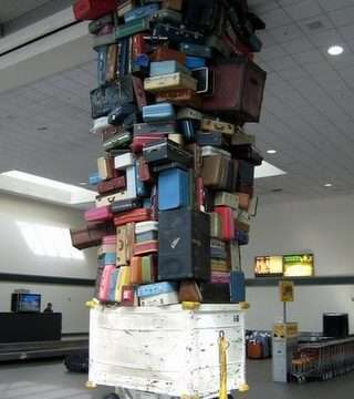 baggage stacked high