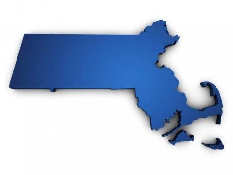 Massachusetts blue map