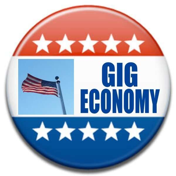 political button with gig economy