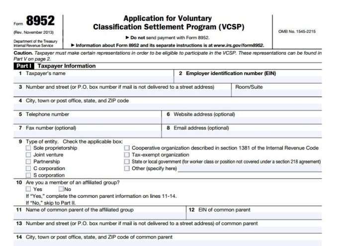 IRS Application for voluntary classification settlement program