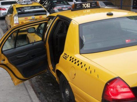taxi with open back door