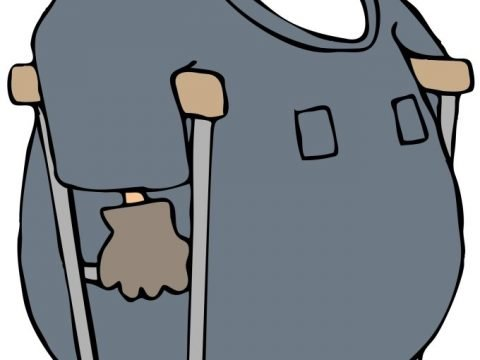 cartoon of injured worker on crutches