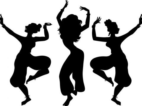 silhouette of exotic dancers