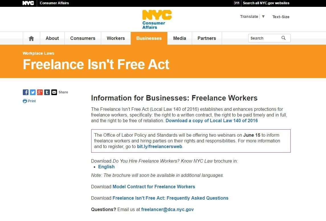 NYC Consumer Affairs website